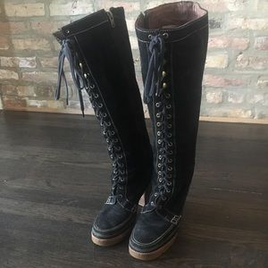 Michael Kors black high healed suede boots